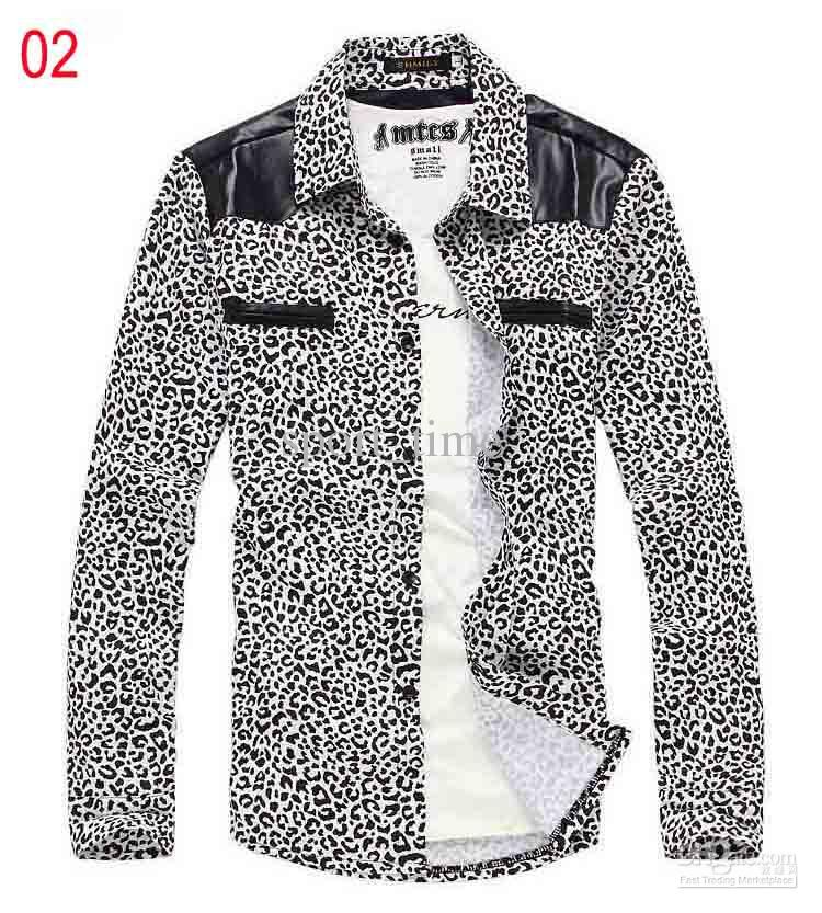 Shirts Mens Shirt Mens Leopard Long Sleeves Shirt White Mens Shirt ...