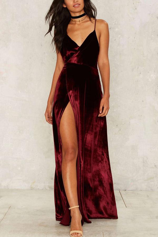 cabf8fb8b1a Dark Red Spaghetti Straps Slit Sexy Maxi Dress in 2019