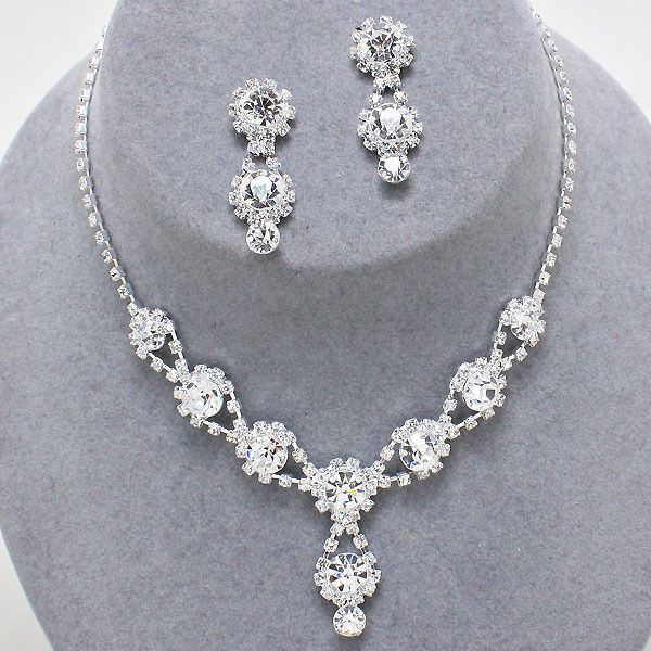 ELEGANT JEWELRY Bridal Wedding Prom Pageant Formal CLEAR Crystal Necklace Set  #ElegantFahionJewelry