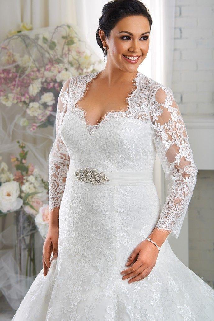 Plus size wedding dresses with lace jacket | mcduff | Pinterest ...