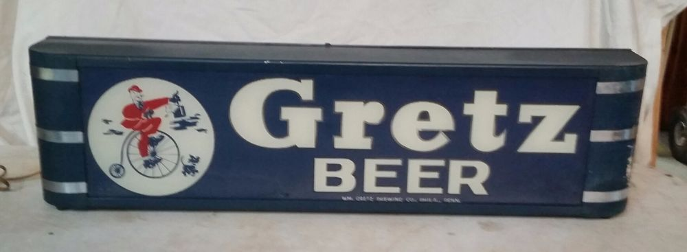 Rare 1930-40's Gretz Beer Lighted Glass Sign / Not neon / porcelain No Reserve