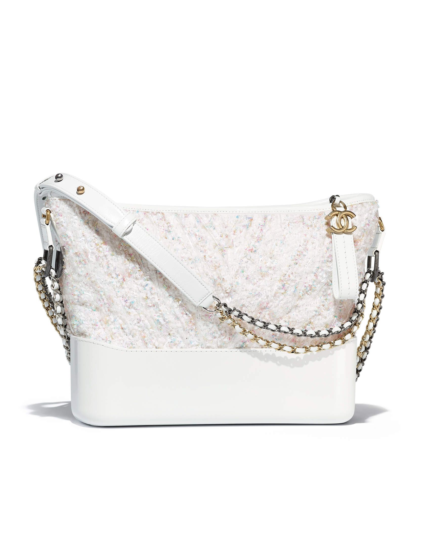 36f2ac25797e2f Hobo handbag CHANEL's GABRIELLE, tweed, pvc, patent calfskin, silver-tone &  gold-tone metal-white - CHANEL