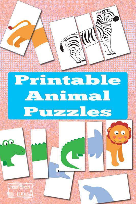 Printable Animal Puzzles {Busy Bag   Busy bags, Animal and Bag
