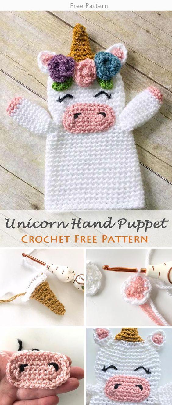 Unicorn Hand Puppet Crochet Free Pattern   Amirigumi, Unicornio y ...