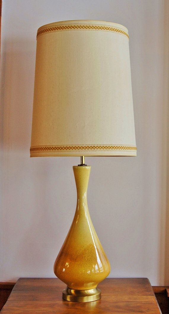 Mid Century Ceramic Lamp Danish Modern Yellow Caramel Drip Glazed Pottery Table Lamp Fabric Drum Mid Century Table Lamp Ceramic Table Lamps Table Lamp Shades
