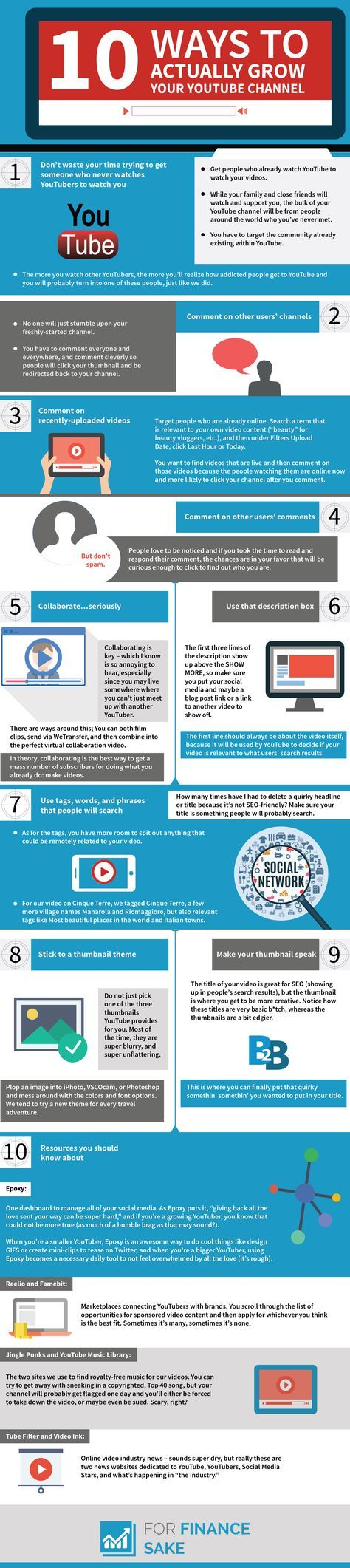 Info Graphic 10 Ways To Actually Grow Your Youtube Channel For Finance Sake Video Marketing Youtube Channel Ideas Youtube Marketing