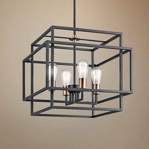Kichler Taubert 18W Black Steel Open-Cube 4-Light Pendant - #18C69 | Lamps Plus #pendantlighting