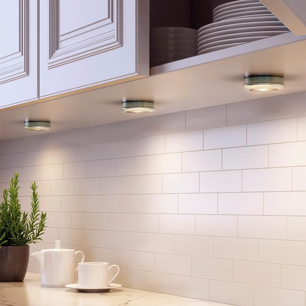 Commercial Electric 2 99 In Led Silver Battery Operated Puck Light 3 Pack Under Cabinet Lighting Cabinet Lighting Kitchen Under Cabinet Lighting