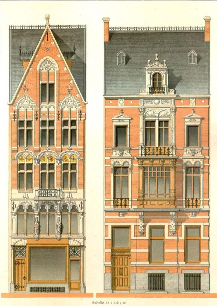 Features Victorian Elevation : Elevation for two residences http pinterest