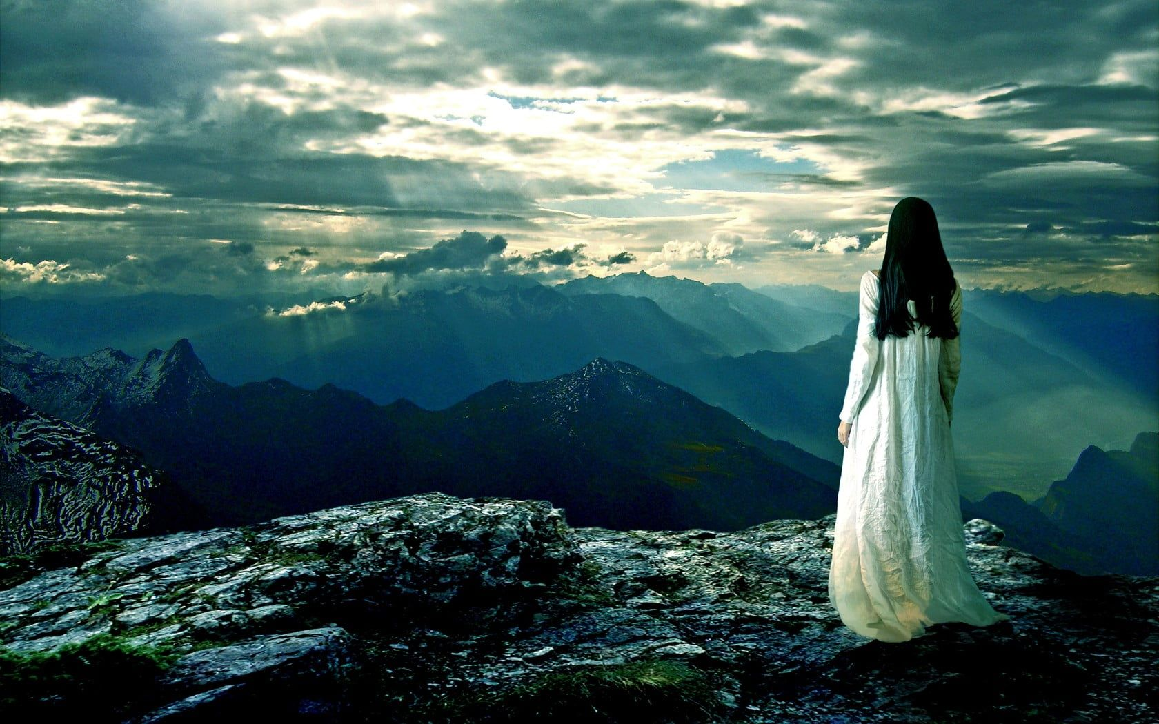 Woman In White Dress Standing Beside Edge Of Mountain Fantasy Art