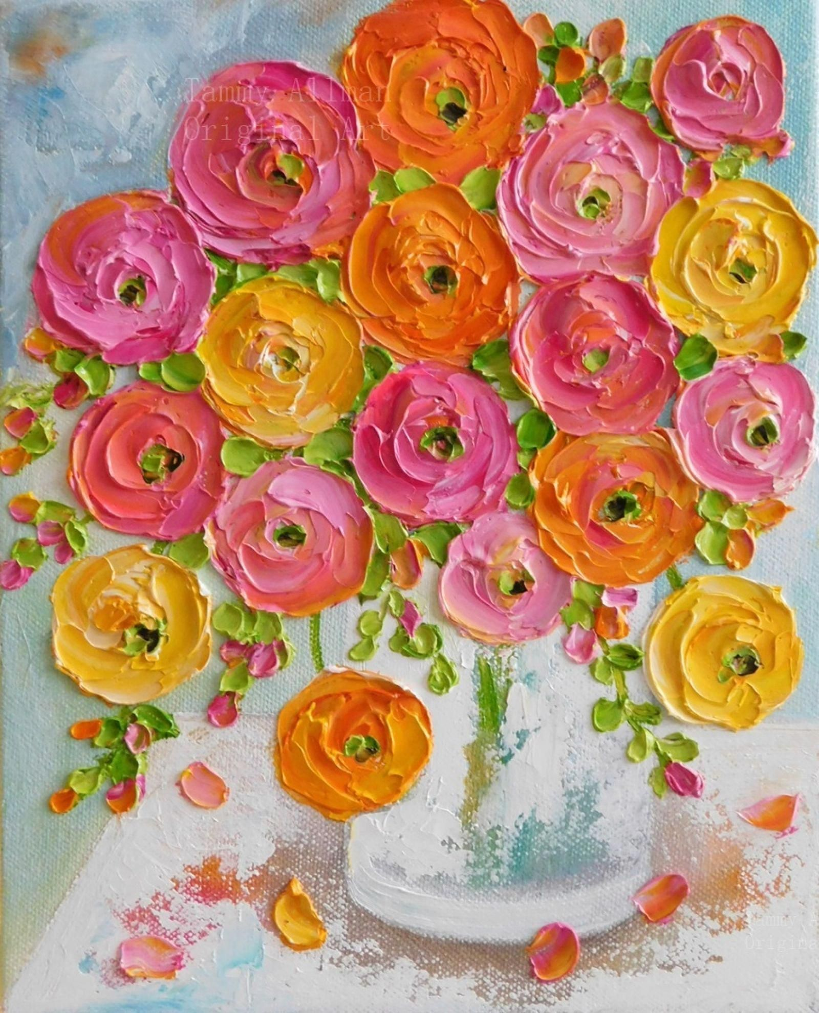 Mixed Ranunculus Custom Oil Painting Oil Impasto Ranunculus Painting Custom Oil Painting Floral Painting Ranunculus Painting