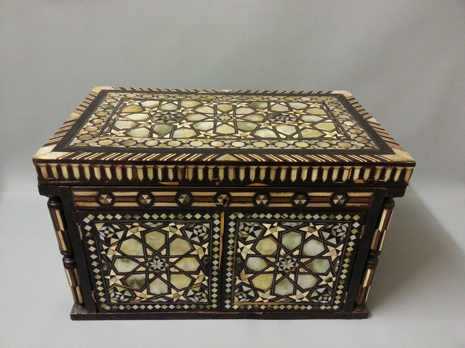 Very Rare Persian Islamic Ottoman Arabic Wooden Box Inlaid With Mother Of Pearl Wooden Boxes Wooden Decorative Boxes