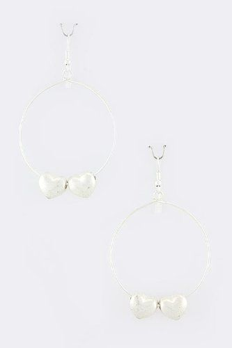TRENDY FASHION JEWELRY HEART HOOP EARRINGS BY FASHION DESTINATION  Matted Silver >>> See this great product.