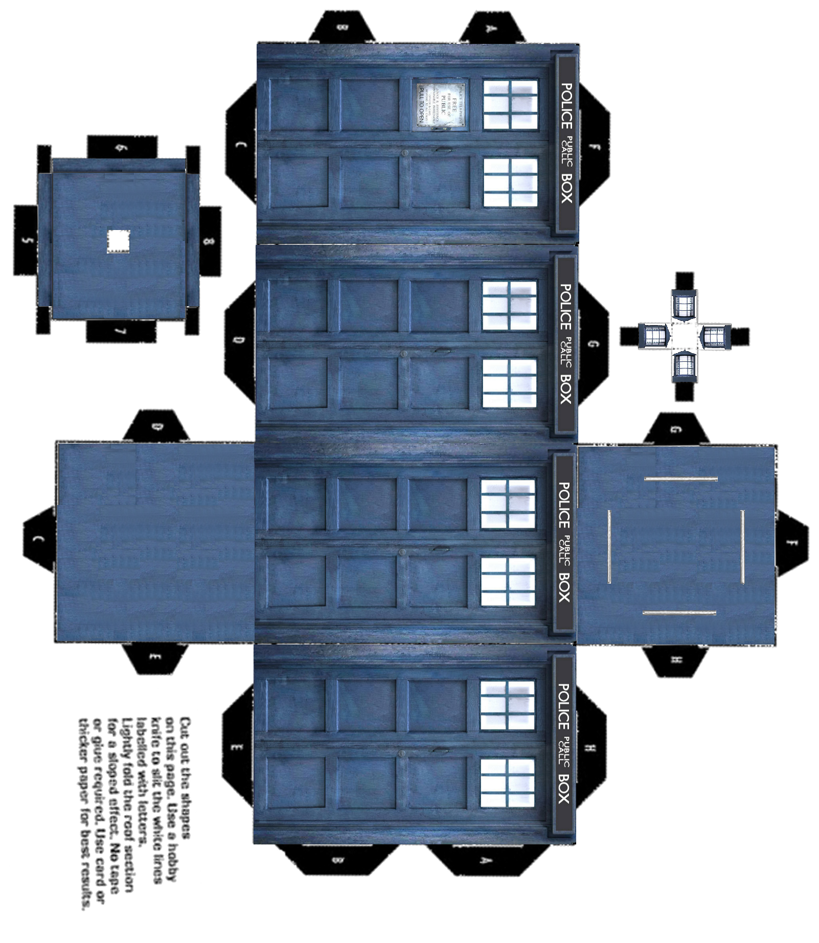 Printable 3d tardis fandom doctor who pinterest for Tardis template for cake