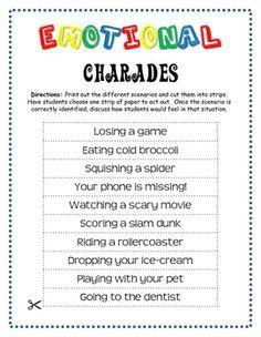 FREE! - Emotion Charades   Social skills activities ...