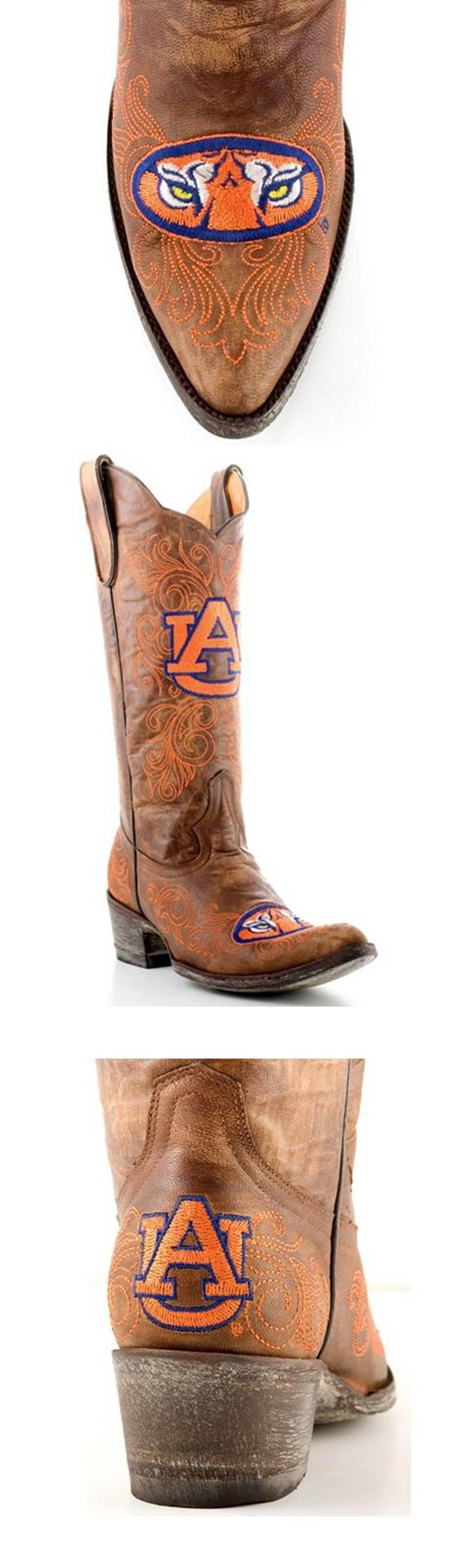 883a3903ce8 Auburn University Tigers - distressed pointed toe cowboy / cowgirl ...