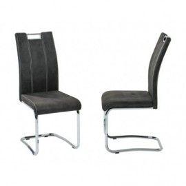 Lot de 2 chaises salle  manger design en coton PU gris anthracite