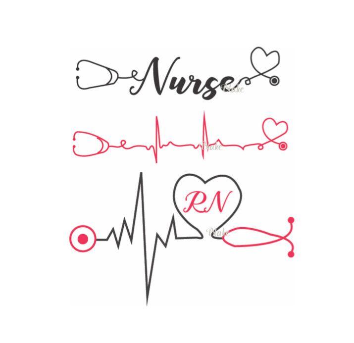 Nurse with heartbeat and stethoscope svg nurse svg