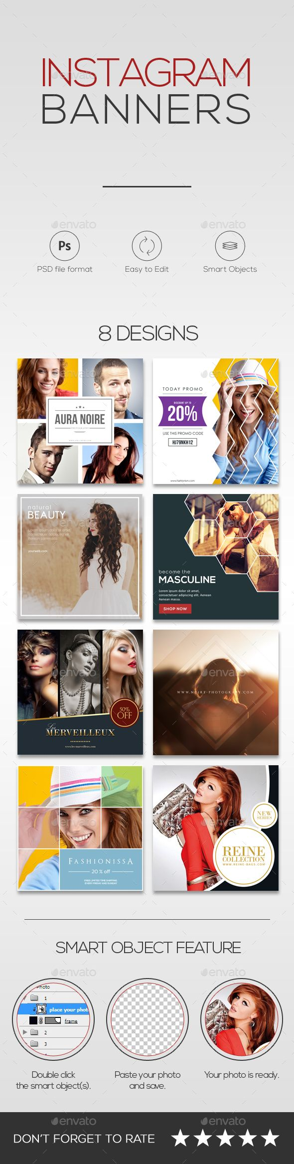 8 Promotional #Instagram #Banners - Miscellaneous #Social Media Download here: https://graphicriver.net/item/8-promotional-instagram-banners/15673784?ref=alena994