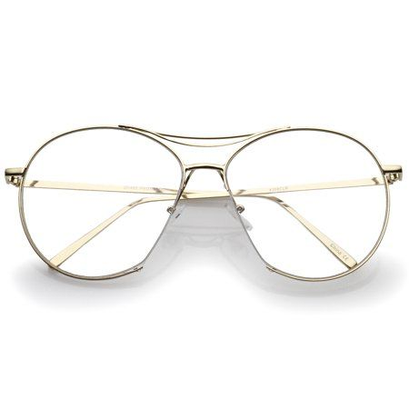 e90f221cf29 Oversize Semi-Rimless Brow Bar Round Clear Flat Lens Aviator Eyeglasses  59mm (Gold   Clear)