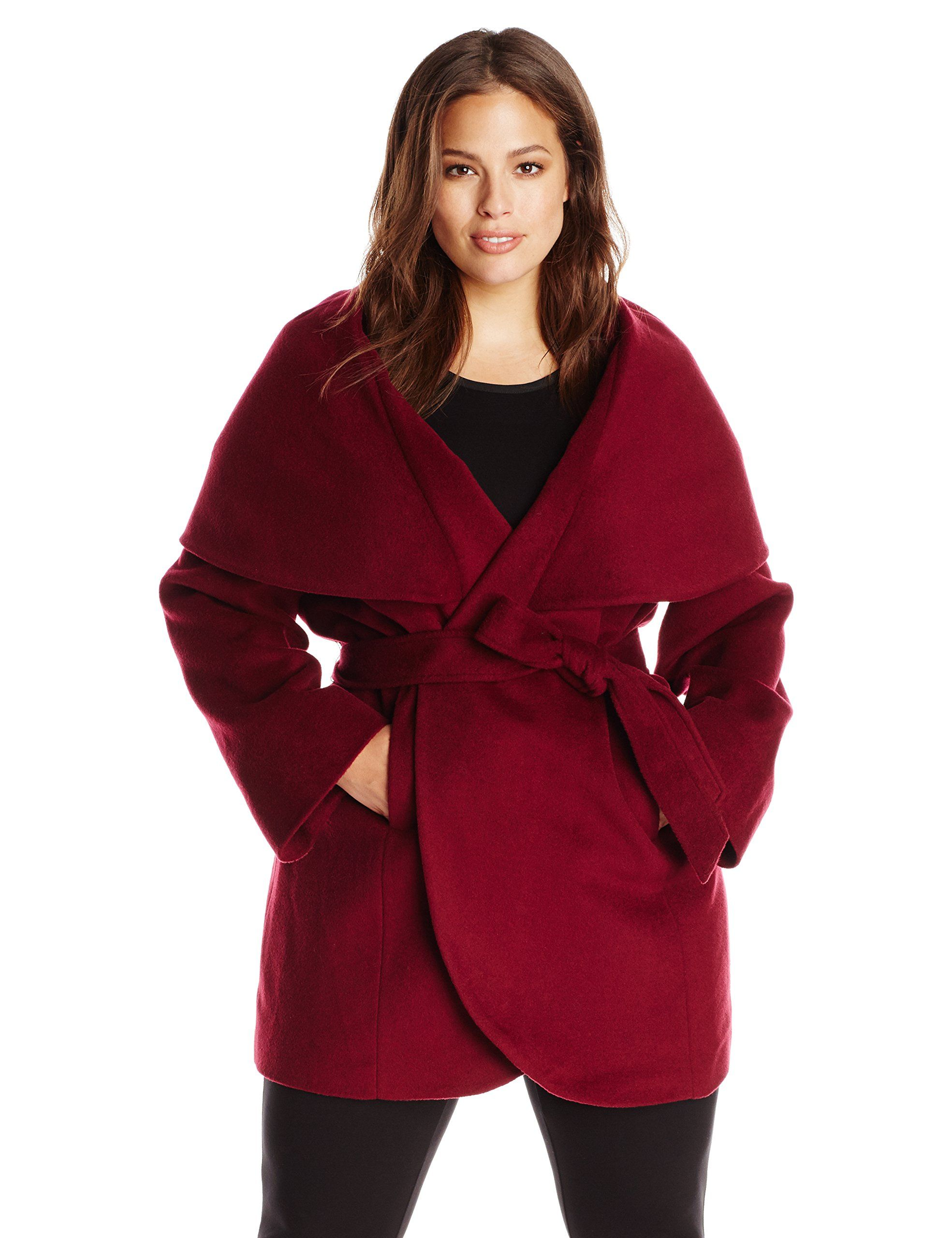 cbb12778650 T Tahari Women s Plus-Size Marla Wool Wrap Coat