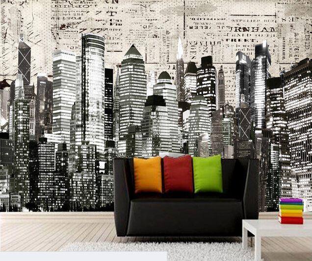 Custom Black And White Retro Wallpaper New York City 3d Wallpaper Murals For The Living Room Wall Pvc Wallpape Living Room Wall Wall Wallpaper Retro Wallpaper