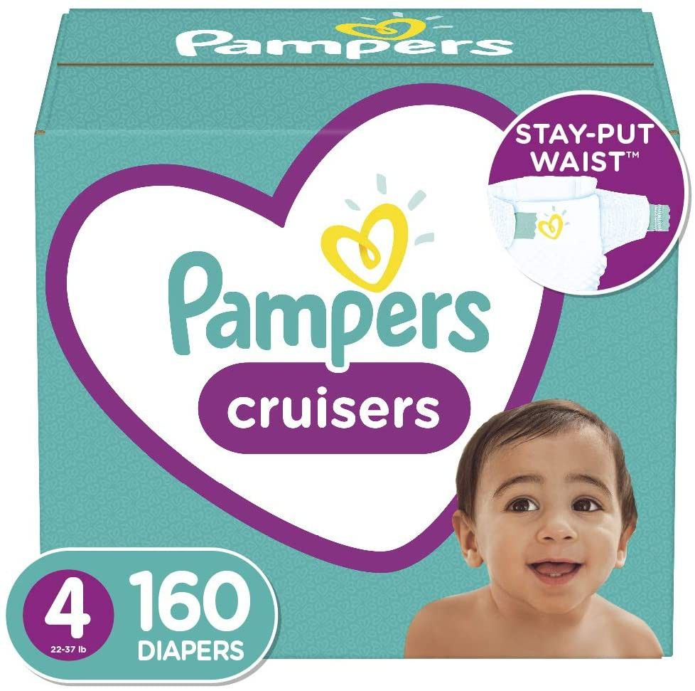 Diapers Size 4 160 Count Pampers Cruisers Disposable Baby Diapers One Month Supply Packaging Ma Baby Diapers Pampers Diaper Sizes