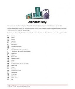 Alphabet City List for Alphabet Summer