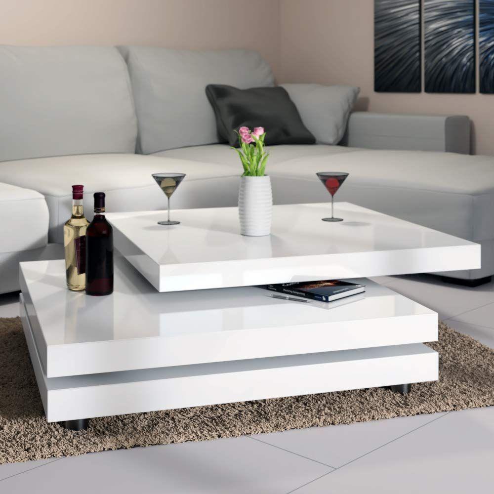Deuba Table Basse De Salon Blanc Moderne Carre 60x60cm Laquee Brillante Rotative A 360 Charge Max 20 Kg Des Wohnzimmertisch Moderne Beistelltische Sofa Tisch
