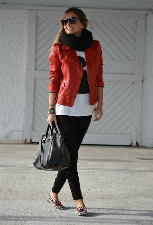 #red #leather jacket, black, and white...very nice for the city!