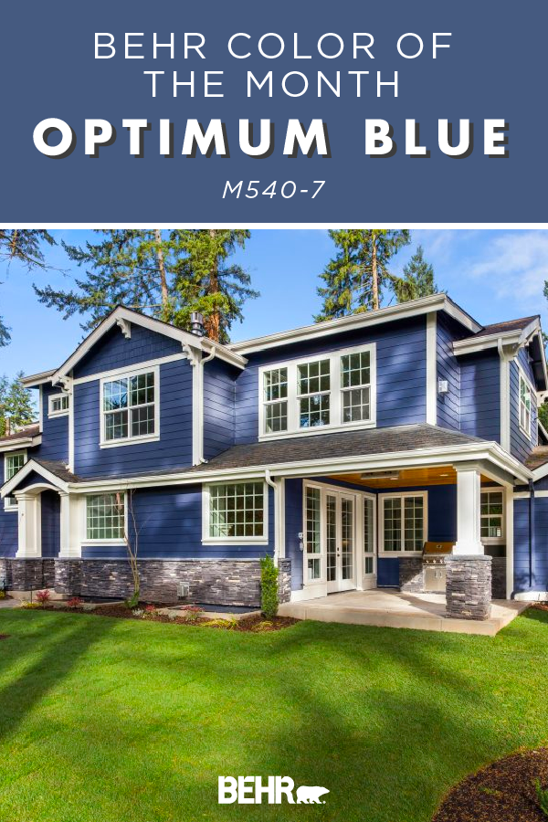 Color Of The Month Optimum Blue Colorfully Behr House Exterior Blue Paint Colors For Home Exterior Paint Combinations