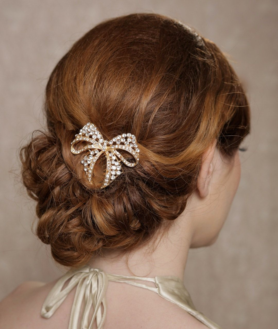 gold+crystal+hair+bow+rhinestone+bridal+hair+comb+by+