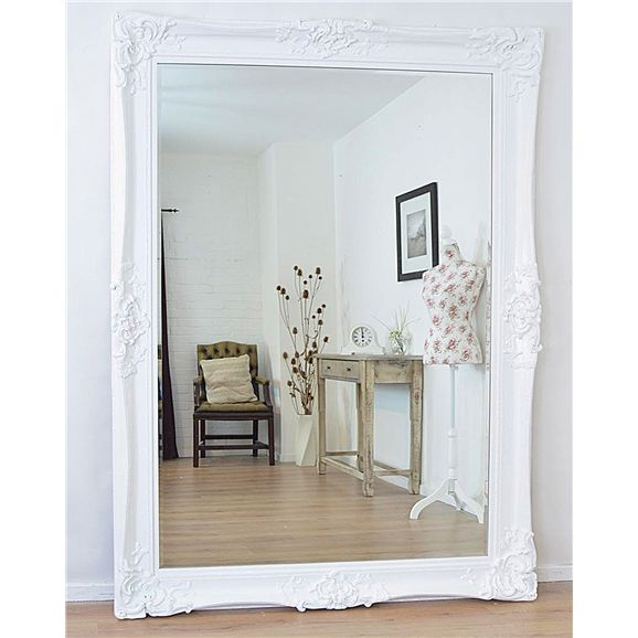 LG065 - Large mirror with a decorative ornate white frame. Mirror ...