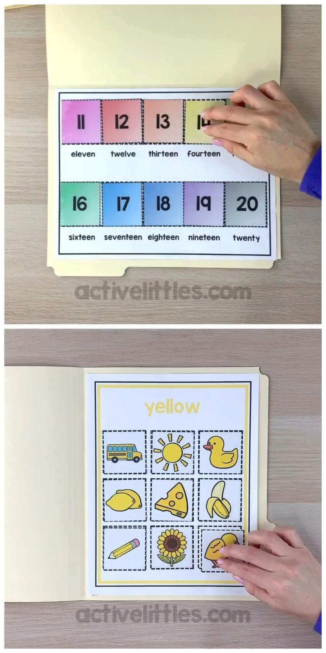 Preschool Learning Folder Game In