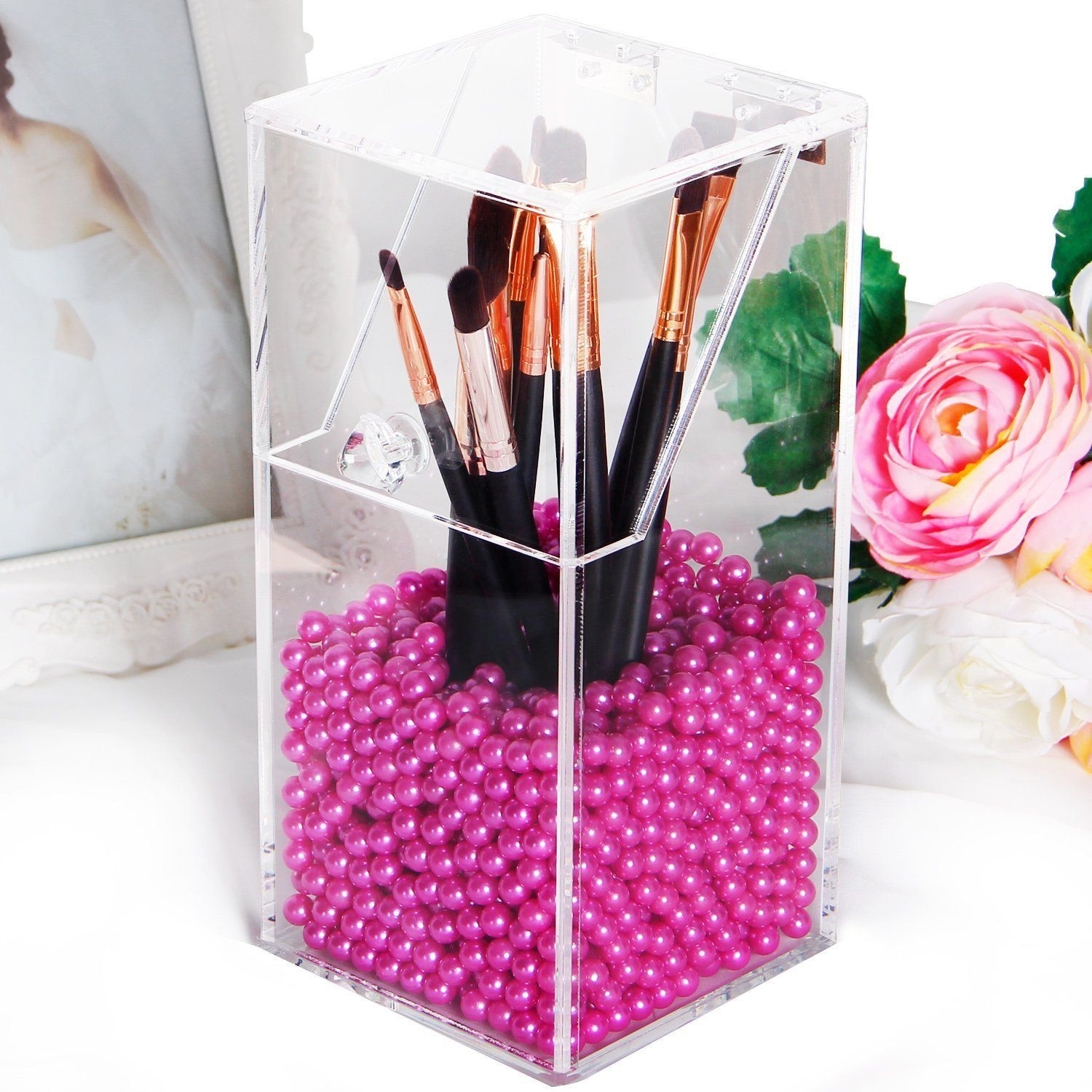 Clear Acrylic Makeup Organizer with Glossy Rosy Pearl