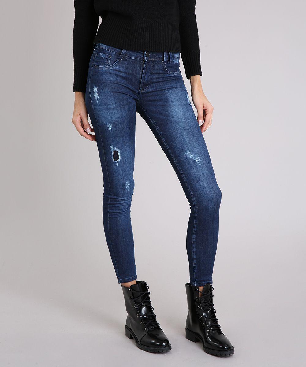 59339bbdb Calca-Jeans-Feminina-Sawary-Jegging-com-Puidos-Azul-Escuro-9162723 ...