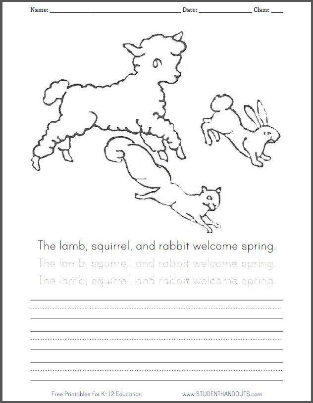 Lamb squirrel and rabbit coloring