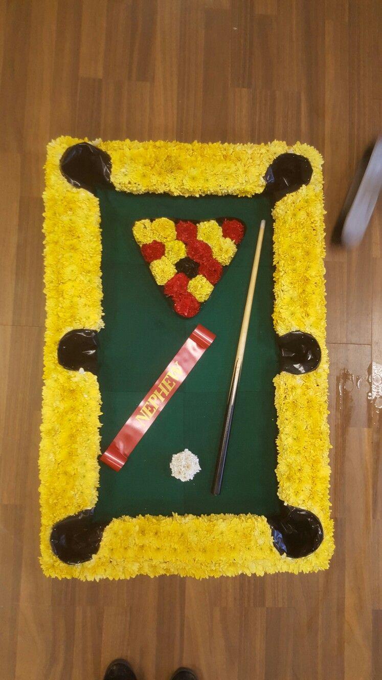 Funeral Tribute  Pool table  Doncaster Florist  www.tigerliliesflorist.co.uk