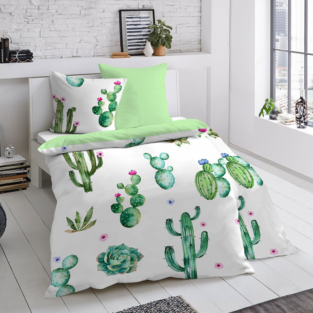 Dormisette Mako Satin Wendebettwäsche Kaktus In 2019 Coole Bilder