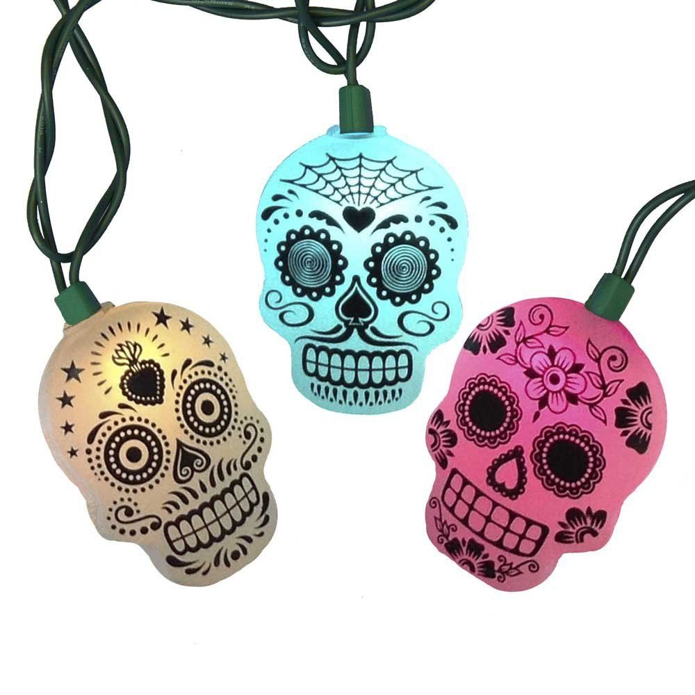 Amazon.com: Kurt Adler UL 10-Light LED Sugar Skull Color Changing ...