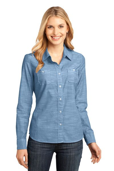 District Made DM4800 Ladies Long Sleeve Washed Woven Shirt from NYFifth