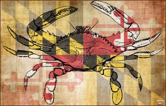 Classic Chesapeake Blue Crab Overlaying The Maryland Flag Etsy Maryland Flag Cotton Tea Towels Overlays