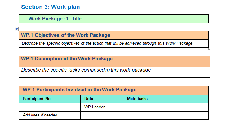 work package description template download for project execution