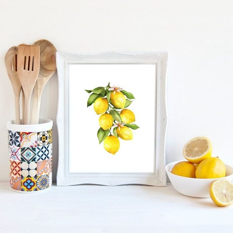 Lemon Canvas Oil Painting Prints Kitchen Wall Art Decor Lemon On The Branch Fruit Pictures Home Room Wall Decoration Poster Kitchen Decor Wall Art Kitchen Wall Art Art Decor