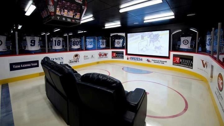 Man Cave Hockey Room : This would be an awesome man cave for the home
