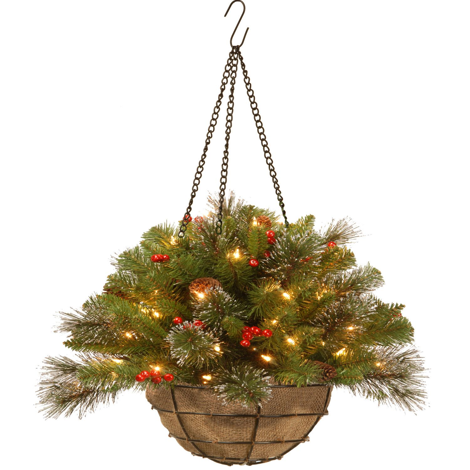 National Tree Co Crestwood Spruce Pre Lit Chain Hanging Basket Christmas Hanging Baskets Artificial Flowers Hanging Baskets