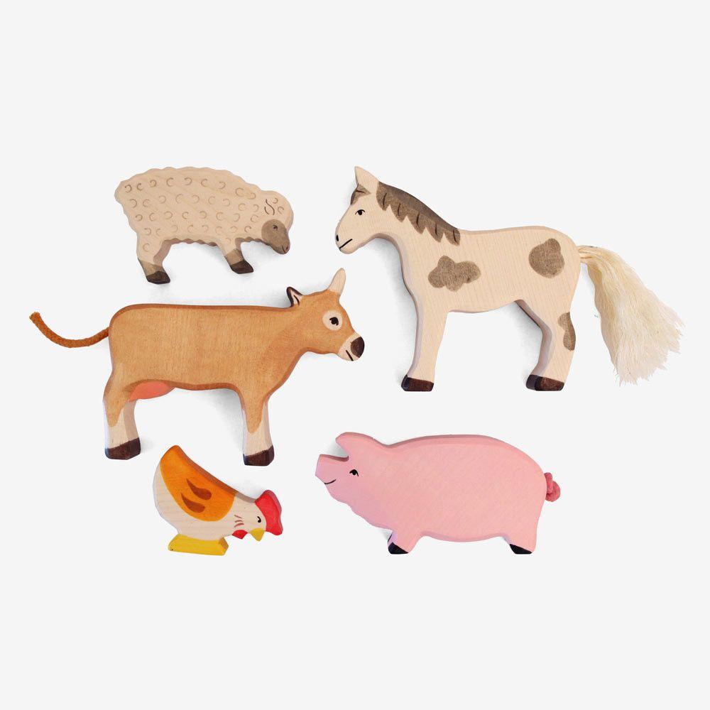 Holztiger Farm Animal Set Wooden Animals Pet Toys Animals