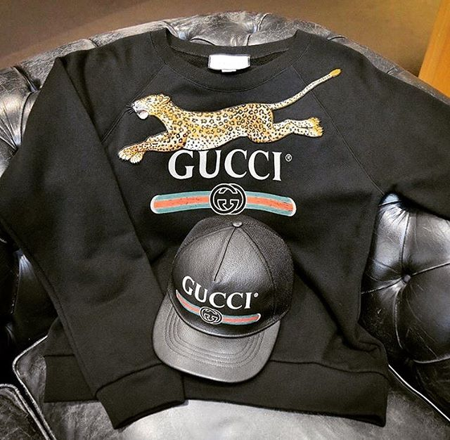 """46615192177 CREDOMEN.COM on Instagram  """"Fall Winter by  GUCCI - The leopard appliqué  stretches across the now recognizable  gucci vintage logo on this  sweatshirt ..."""