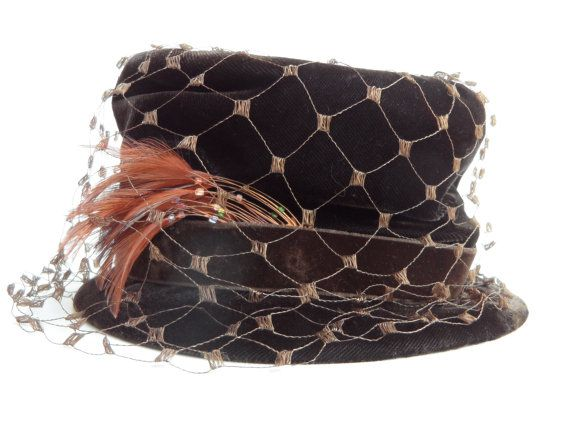 Delicious Vintage Chocolate Brown Velvet Hat Beaded Feathers Netting by Gertrude