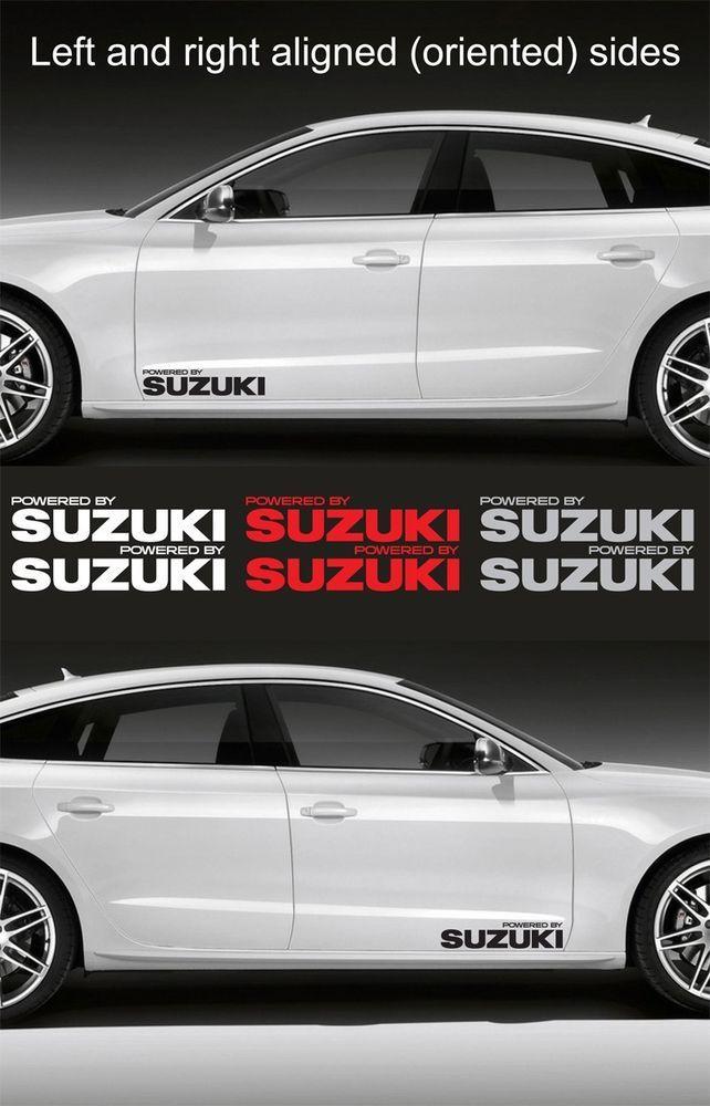 2pcs Powered By Suzuki 15 Wide Vinyl Decal Sticker Emblem Logo